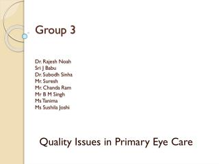 Quality Issues in Primary Eye Care