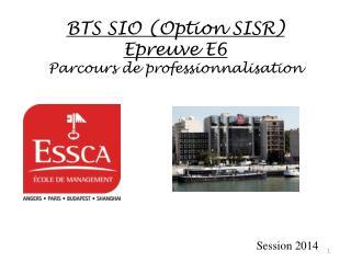 BTS SIO (Option SISR) Epreuve E6  Parcours de professionnalisation