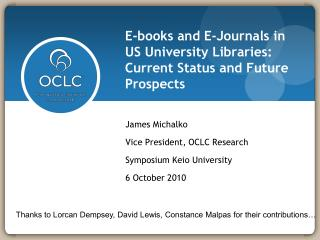 OCLC and Research Institutions: Transitioning the RLG Partnership ...