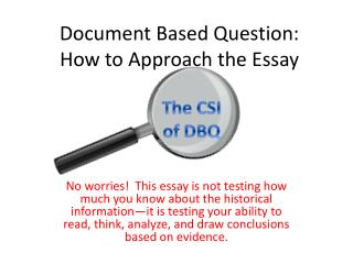Document Based Question: How to Approach the Essay