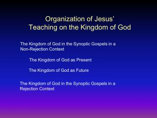 Organization of Jesus'  Teaching on the Kingdom of God