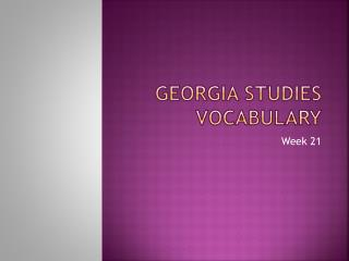 Georgia Studies Vocabulary