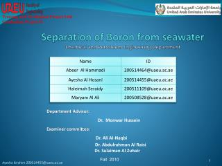 Separation of Boron from seawater Chemical and Petroleum Engineering Department
