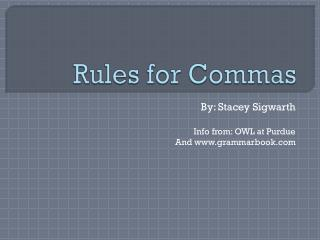 Rules for Commas