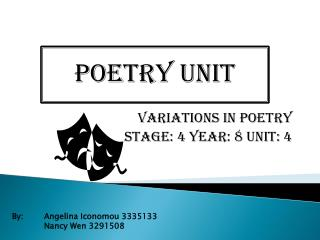 Variations in POETRY Stage: 4 year: 8 unit: 4