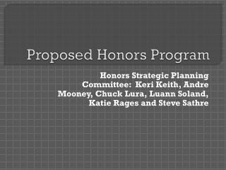 Proposed Honors Program