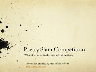 Poetry Slam Competition