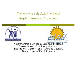 Promotores de  Salud Mental Implementation Overview