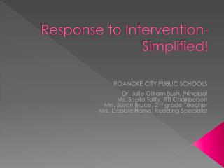Response to Intervention-Simplified!