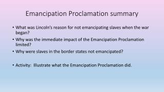 Emancipation Proclamation summary
