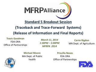Standard 5 Breakout Session ( Traceback and Trace-Forward Systems)