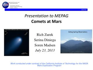 Presentation to MEPAG Comets at Mars