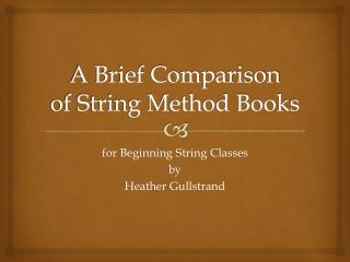 A Brief Comparison  of String Method Books