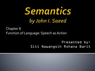 Semantics by  John I.  Saeed