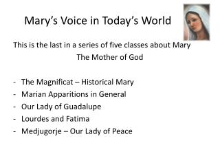 Mary's Voice in Today's World
