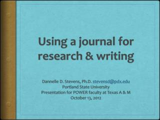 Using a journal for research & writing