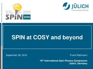 SPIN  at  COSY  and beyond