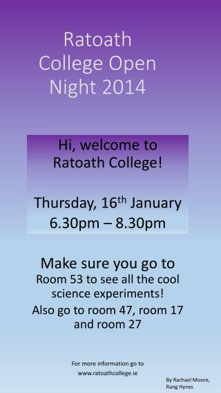 Ratoath College Open Night 2014