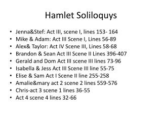 Hamlet Soliloquys