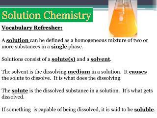 Solution Chemistry