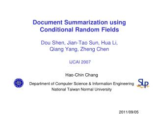 Hao -Chin Chang  Department of Computer Science & Information Engineering