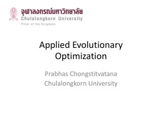 Applied Evolutionary Optimization