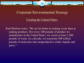Corporate Environmental Strategy