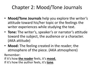 Chapter 2: Mood/Tone Journals