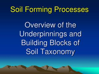 Overview of the Underpinnings and Building Blocks of  Soil Taxonomy