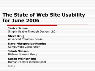 The State of Web Site Usability for June 2006