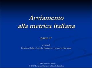 Avviamento alla metrica italiana