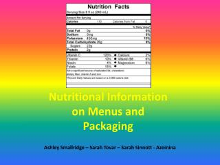 Nutritional Information on Menus and Packaging