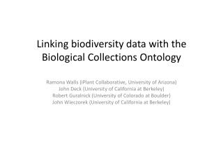L inking biodiversity data with the  B iological Collections Ontology