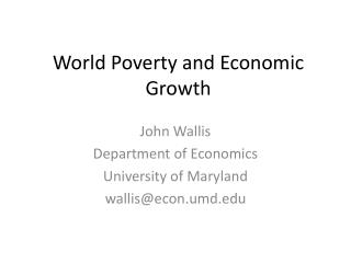 World Poverty and Economic Growth