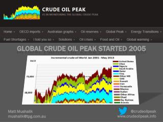Global crude oil peak started 2005