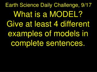 Earth Science Daily Challenge,  9/17