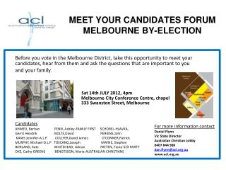 MEET YOUR CANDIDATES FORUM MELBOURNE BY-ELECTION
