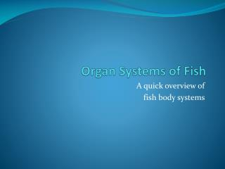 Organ Systems of Fish