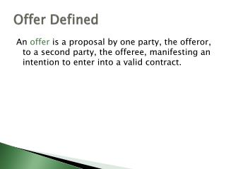 Offer Defined