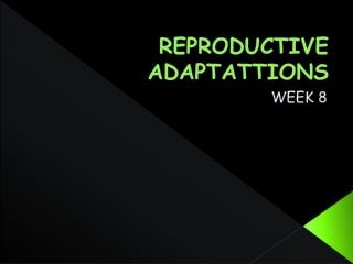 REPRODUCTIVE ADAPTATTIONS
