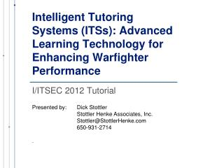 I/ITSEC 2012 Tutorial