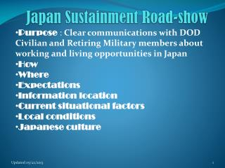 Japan Sustainment Road-show