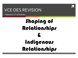 VCE OES REVISION