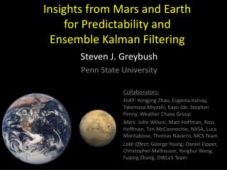 Insights from Mars and Earth for Predictability and Ensemble Kalman Filtering