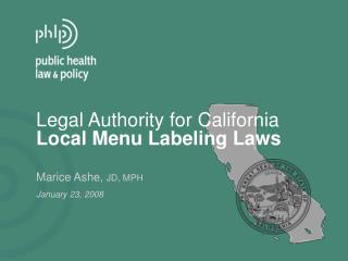 Legal Authority for California Local Menu Labeling Laws