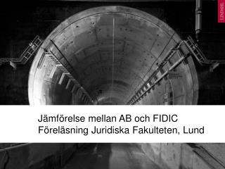 Jämförelse mellan  AB och FIDIC Föreläsning Juridiska Fakulteten , Lund