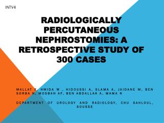 Radiologically  percutaneous nephrostomies: A retrospective study of 300 cases