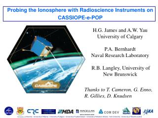Probing the Ionosphere  with  Radioscience  Instruments on CASSIOPE-e-POP