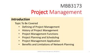 MBB3173 Project  Management