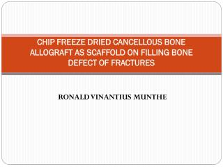 CHIP FREEZE DRIED CANCELLOUS BONE ALLOGRAFT  AS  SCAFFOLD  ON FILLING BONE DEFECT OF FRACTURES